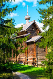 Russian traditional old church in the woods