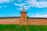 tower and wall of Novgorod Kremlin's redbrick