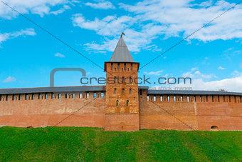 tower and wall of Novgorod Kremlin's redbrick