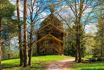 Beautiful wooden church in a forest