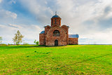 orthodox medieval church of red brick