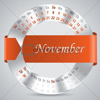 2015 november calendar design