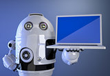 Robot shownig blank screen laptop