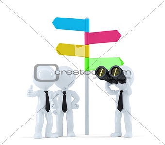 Business team with binoculars in front of a direction sign. Business concept