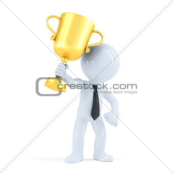 Business man raising his trophy. Business concept. Isolated. Contains clipping path
