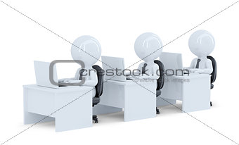 Office workers. Isolated. Contains clipping path