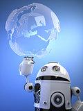 Robot touching a digital virtual globe