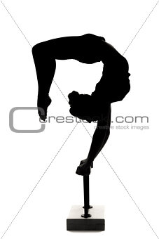 caucasian woman contortionist practicing gymnastic yoga in silho