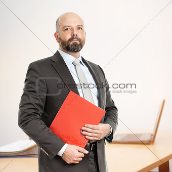 business man with red folder