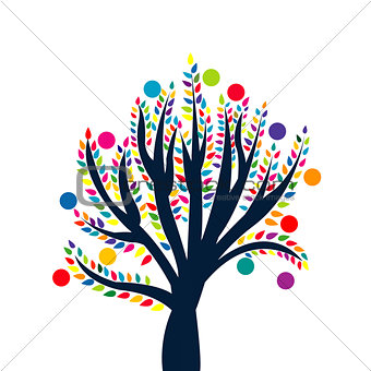 Abstract tree with colored leaves and fruits