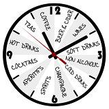 Bar menu in the form of a clock