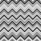 Zig zag seamless pattern with black dots and lines over white ba