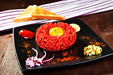 Delicious steak tartare.