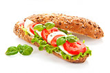 Baguette caprese isolated.