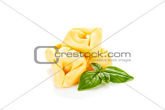 Tortellini isolated on white.