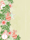 Christmas background with paper decorations