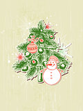 Background with green  paper fir and snowman