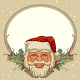 The head of Santa Claus. Template cards for Christmas