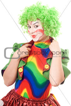 Portrait of smiling female clown