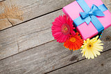 Colorful gerbera flowers in gift box