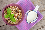 Healty breakfast with muesli and milk