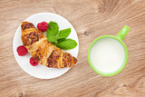 Milk and fresh croissant