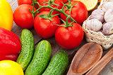Fresh ripe vegetables closeup