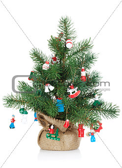 Small decorated christmas tree