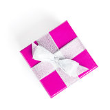 Purple gift box with silver ribbon