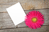 Photo frame and gerbera flower