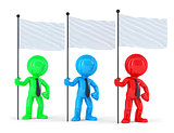 Group of coloured businesspeople with flags. Isolated. Contains clipping path
