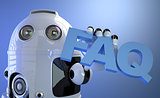 Robot holding FAQ sign. Technology concept.