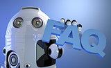 Robot holding FAQ sign. Technology concept.
