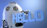 Robot holding HELLO sign. Technology concept.