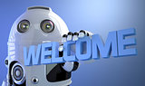 Robot holding WELCOME sign. Technology concept.