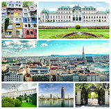 Collage of famous places, landmarks and buildings of Vienna