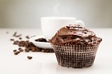 Breakfast with cup of coffee and chocolate cake