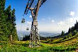 Gondola lift in  Schockl. Graz, Austria