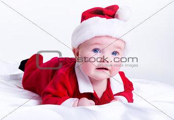 Adorable little santa baby