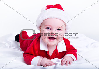 Adorable little santa baby