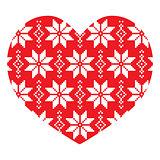 Nordic, winter red heart pattern