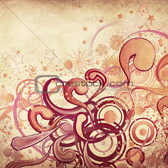 Abstract swirls ornament on paper