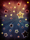 Colorful grunge stars background