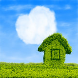 Eco house and cloud heart