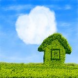Eco house and cloud heart