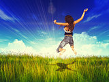 Girl jump in a sunny grass field