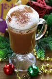 festive drink (chocolate, cocoa, coffee) with milk foam, Christmas Still Life