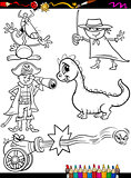 fantasy set cartoon coloring page