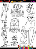retro people set cartoon coloring page