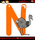 letter n for nandu cartoon illustration